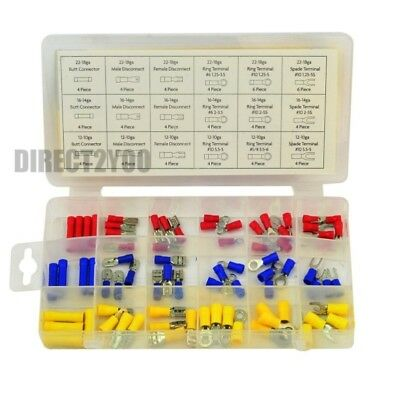 76pc Spade Connectors Terminal Male Female Electrical Wire Crimp Ring Assorted