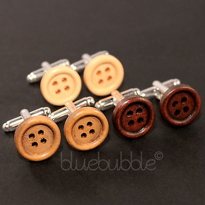 Funky Wooden Button Cufflinks Vintage Style Dads Gift Kitsch Fun Wedding Prom Uk