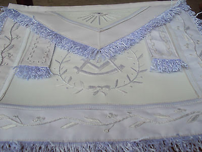 Hand Embroided Masonic Lodge Past Master Apron  All White