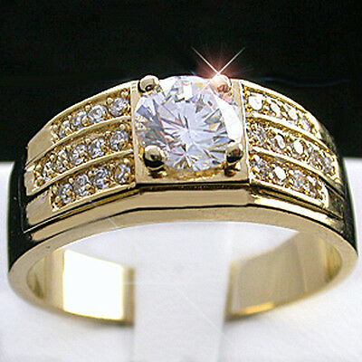 Mens 1.1ct Created DIAMOND 14k GOLD Layered Ring + LIFETIME GUARANTEE