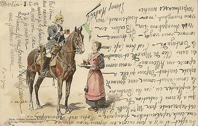 Carte Postale Illustrateur Becker Allemagne Soldat Allemand A Cheval Prosit