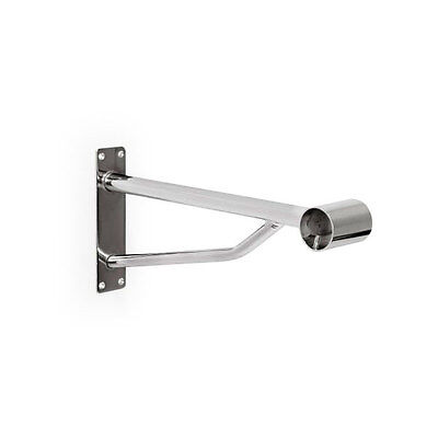 HEAVY DUTY WALL MOUNTED CLOTHES RAIL BRACKET Chrome Hanging Arm for 32mm TUBE