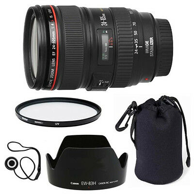 Canon EF 24-105mm f/4 L IS USM Lens + Lens Hood + Case + UV Filter + US Warranty