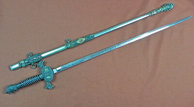 Vintage Old US Engraved Knights of Pythias Masonic Fraternal Sword w/ Scabbard