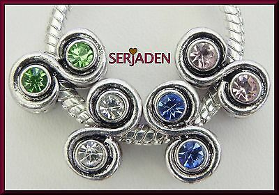 4 Infinity Charm Pink Blue White Green Fit European Style Bracelet Necklace R185
