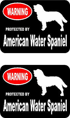 2 protected by American Water Spaniel dog car bumper home window vinyl stickers