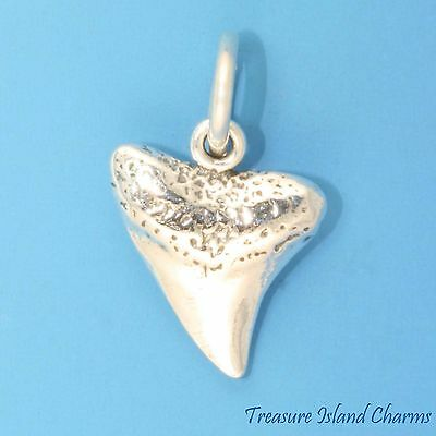 SHARK TOOTH 3D .925 Solid Sterling Silver Charm