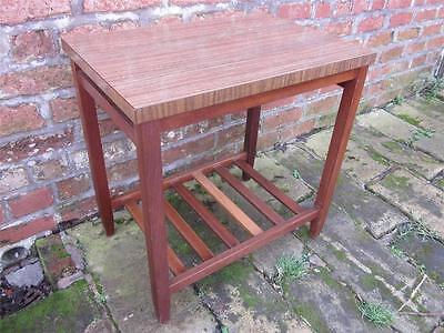 Funky Retro Vintage Formica Topped Teak Side Table. Dated 1968 Underneath.
