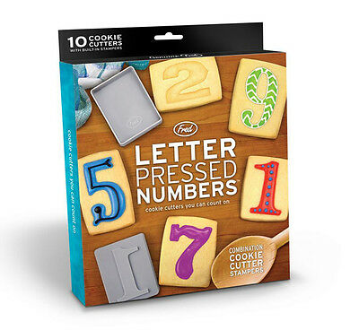10 Number Pressed Cookies Cutters & Stamp Baking Set by Fred