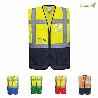 Executive Two Tone Hi Vis Vest With Multi Pockets And ID Holder