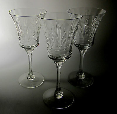 Heisey Crystal Danish Princess (SET OF 3) WATER GOBLETS (repaired)