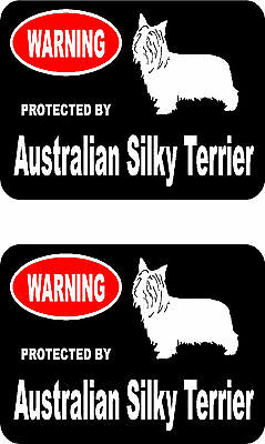 2 protected by Australian Silky Terrier dog bumper home window vinyl stickers
