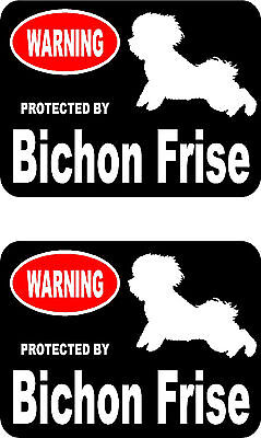 2 protected by Bichon Frise dog bumper home window vinyl decals stickers