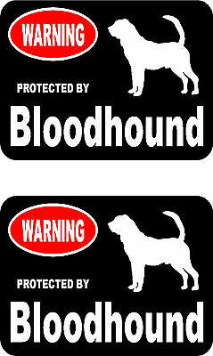 2 protected by Bloodhound dog car bumper home window vinyl decals stickers