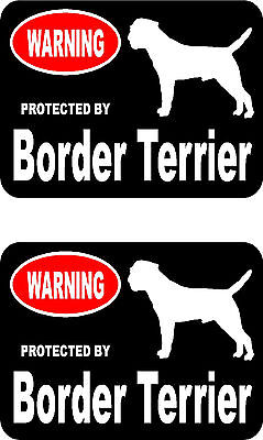 2 protected by Border Terrier dog car bumper home window vinyl decals stickers