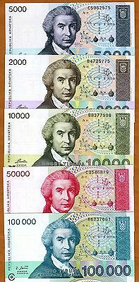 SET, Croatia, 2000;5000;10000;50000;100000 1992-1993, P-23;24;25;26;27 UNC