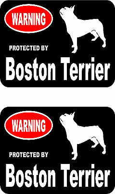 2 protected by Boston Terrier dog car bumper home window vinyl decals stickers