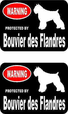 2 protected by Bouvier des Flandres dog car bumper home window vinyl stickers