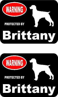 2 protected by Brittany dog car bumper home window vinyl decals stickers