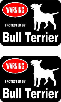 2 protected by Bull Terrier dog car bumper home window vinyl decals stickers