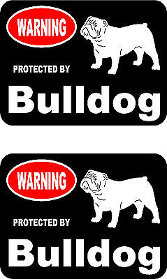 2 protected by Bulldog dog car bumper home window vinyl decals stickers