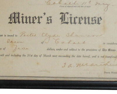 Antique Miner's Mining License Document Ontario Canada Porter Clyde Shannon