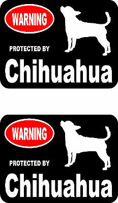 2 protected by Chihuahua dog home car bumper window vinyl decals stickers