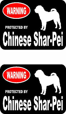 2 protected by Chinese Shar-Pei dog home car bumper window vinyl decals stickers