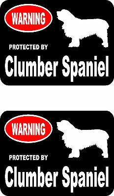 2 protected by Clumber Spaniel dog home car bumper window vinyl decals stickers