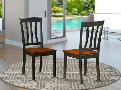 Set of 2 Antique dinette kitchen dining chairs w/ plain wood seat cherry black