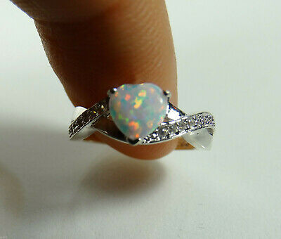 Australian Moon White Fire Opal Heart Cut Infinity Celtic Sterling Silver Ring