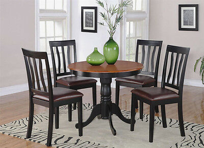 3Pc Dinette Kitchen Dining Set Table With 2 Leather Chairs In Black & Cherry