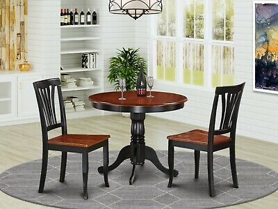 3-Pc Dinette Kitchen Dining Set Table With 2 Wood Seat Chairs In Black & Cherry