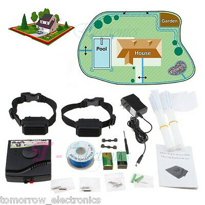 NEW Waterproof Underground Electric Shock Dog Collar Fence System For 2 Dog