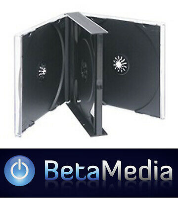 40 x Quad Jewel CD Cases - Black Tray 24mm - Holds 4 discs