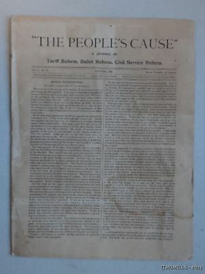 1889 The People's Cause Bourbon Democrat Political Newspaper Grover Cleveland