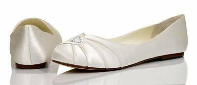 Ivory Satin Bridal Bridesmaid Wedding Shoes Size 3,4,5,6,7 By P&P Style Cindy