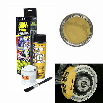 E-Tech Brake Caliper Engine Paint Kit - Paint, Cleaning Spray + Brush - Gold