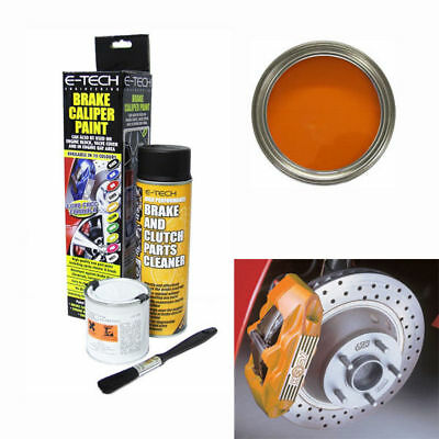 E-Tech Brake Caliper Paint Kit -Use On Calipers, Drums, Hubs, Engine Bay -Orange