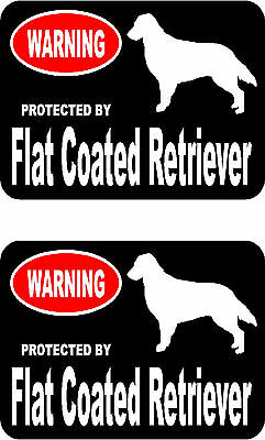 2 protected by Flat Coated Retriever dog home car window vinyl decals stickers