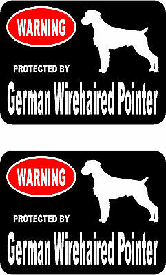 2 protected by German Wirehaired Pointer dog home window vinyl decals stickers