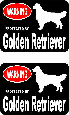 2 protected by Golden Retriever dog car bumper home window vinyl decals stickers