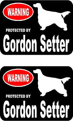 2 protected by Gordon Setter dog car bumper home window vinyl decals stickers