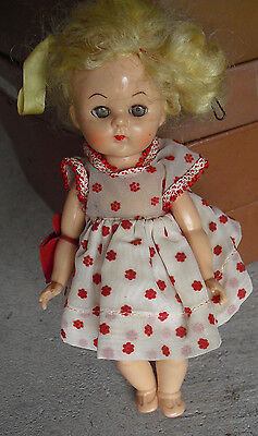 "Vintage 1950s Hard Plastic Ginger Blonde Character Girl Doll  8"" Tall"