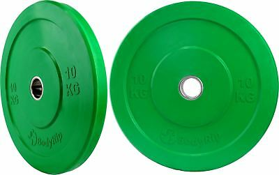 2 X 10Kg IWF Coloured Olympic Bumper Weight Disc Plates Fitness Gym