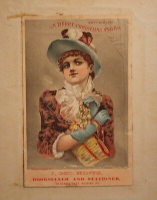antique old Victorian era Young Woman girl Christmas blotter postcard Reading PA