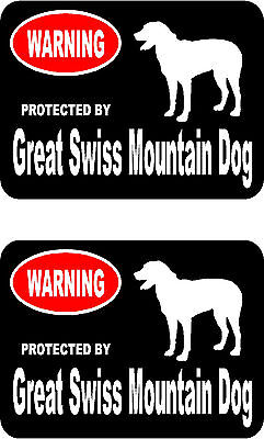 2 protected by Great Swiss Mountain Dog bumper home window vinyl decals stickers