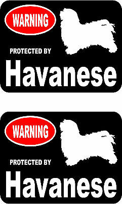 2 protected by Havanese dog car bumper home window vinyl decals stickers