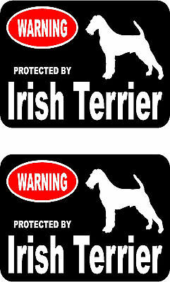 2 protected by Irish Terrier dog car bumper home window vinyl decals stickers