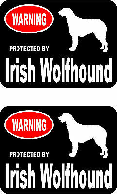 2 protected by Irish Wolfhound dog car bumper home window vinyl decals stickers